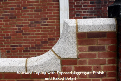 Exposed Aggregate Mansard Coping with Raked Detail