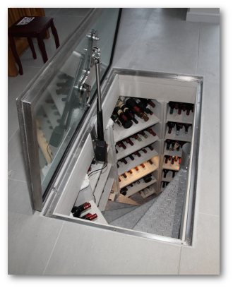 Motorised Glass Cellar Door